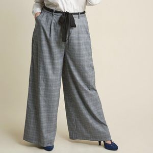 Gorgeous Plaid Wide Leg Slacks with Sash